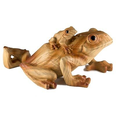 Large Mother Frog With Baby Faux Carved Wood Look Figurine Resin 9 Inch Long New
