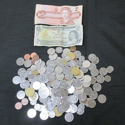 Canadian Two and One Dollar Bills Plus Canadian Change - $50 Canadian Total