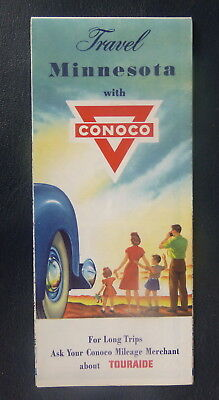 1954 Minnisota  road map Conoco  oil  gas Boundry Waters