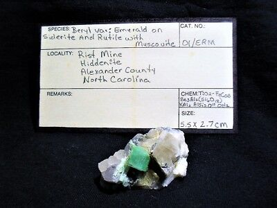 Emerald Var;beryl On Matrix & Siderite,rutile,muscovite Only 1 No Reserve Beauty