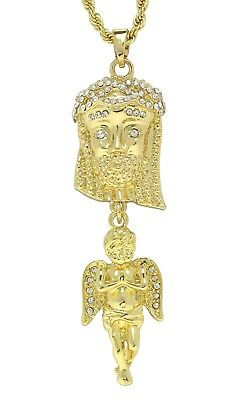 """Jesus Piece Angel Icy Pendant 14k Gold Plated Cz 24"""" Rope Chain Hip Hop Necklace"""
