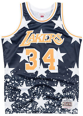 Los Angeles Lakers Shaq O'neal 4Th Of July Swingman Jersey 96-97 Mitchell & Ness