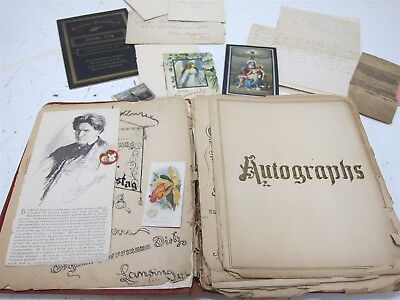Antique Paper Ephemera Album Late 19th/Early 20th C Hand Written Letters Cards +