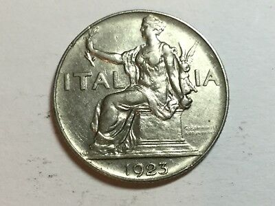 ITALY 1923 1 Lira coin extra fine/about uncirculated