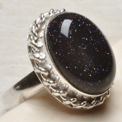 Natural Blue Goldstone 925 Sterling Silver Plated Over Solid Copper Ring Sz 8