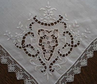 Vintage Set 4 Linen Dinner Napkins Point Venice Needle Lace Filet White