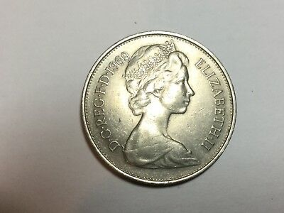 GREAT BRITAIN 1969 10 Pence coin extra fine condition
