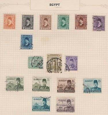 EGYPT Collection to 100 mills etc on Old Pages, USED, as per scan #