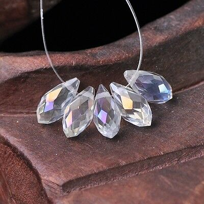 50pcs 12x6mm Teardrop Pendant Faceted Crystal Glass Loose Beads Clear AB