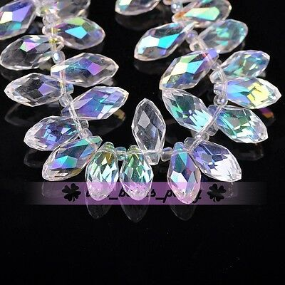 New 10pcs 16X8mm Teardrop Faceted Charm Half AB Loose Pendant Glass Beads