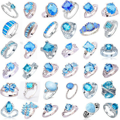 925 Sterling Silver Aquamarine Blue Topaz Gemstone Band Ring Women Men New Gift