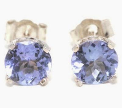 1.00ct Genuine Tanzanite 14KT 14K Solid White Gold Studs Earrings FREE SHIPPING