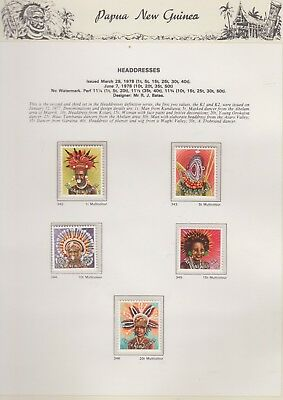 PAPUA NEW GUINEA 1978  on Illustrated Page MNH Removed  for Ship Headdress