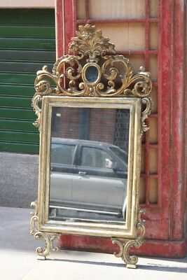 Mirror 18Th Century, Decorations Carved, Gilding Meccata / Mirror Antique