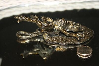 Antique Frog On A Lily Pad Figure Cast Iron Paper Holder Desk Or Wall Hanging