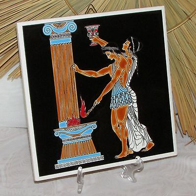 Vintage Ceramic Tile Cobalt Blue Hand Made Decorative Greece Gods Mount Olympus