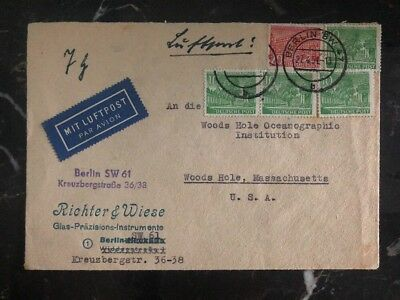 1951 Berlin Germany Airmail Cover To Oceanographic Institute Woods Hole Ma USA