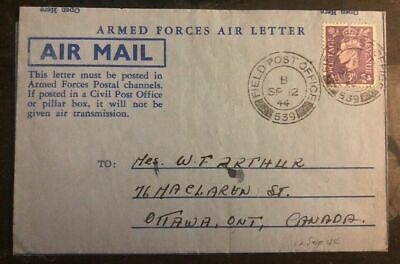 1944 Field Post England Armed Forces Airmail Cover To Ottawa Canada