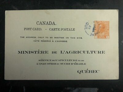 1929 Quebec Canada PS Postcard Cover Agriculture Department Inspection