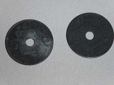 2 antique sales tax tokens,Missouri, 5 cent