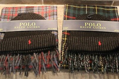 New Ralph Lauren 2 Pc Hat Beanie & Scarf Polo Pony Logo Set  ~  You Choose Color