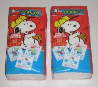 PEANUTS 2 PACKAGES White TISSUES 10 Piece 2 PLY Packaging w/PEANUTS Characters