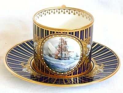 Stephan Nowaki Derby Hand Painted Signed Cabinet Cup & Saucer With Sailing Ship