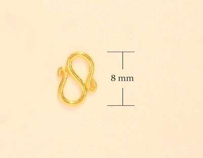 "PURE 24k solid gold "" S "" clasp lock 8 mm handmade from Thailand B10"