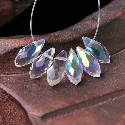 50pcs 12x6mm Teardrop Pendant Faceted Crystal Glass Loose Beads Half Clear AB