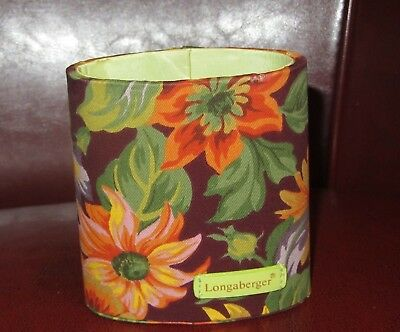 Longaberger PLUM SUNFLOWER Fabric Oval Pencil Holder or Container ~ Homestead