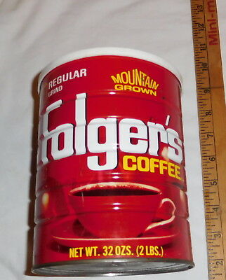 vintage Folger's Coffee Regular Tin Can 32 oz size EMPTY with lid Mountain Grown