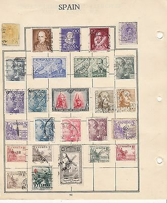 SPAIN  Early Stamps on Album Page USED...