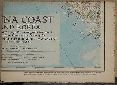Vintage 1953 National Geographic Map of China Coast and Korea