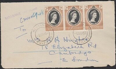 SWAZILAND 54 x3 Coronation FDC, front only