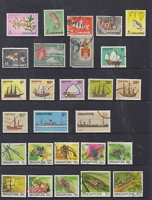 SINGAPORE Stamp Collection with Higher Values to $5 USED..