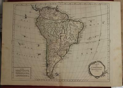 South America 1769 Louis Charles Desnos Antique Original Copper Engraved Map