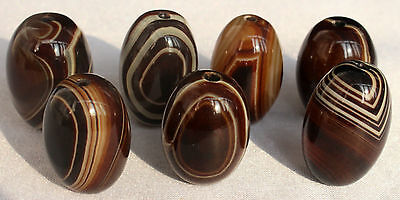 120g 7Pcs Banded Eyed Nepal Indo Tibet Agate Old Bead Amulet for Gift