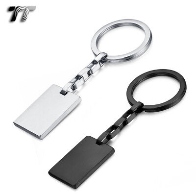 TT 316L Brushed Stainless Steel Dog Tag Key Ring Engravable (KR06) NEW