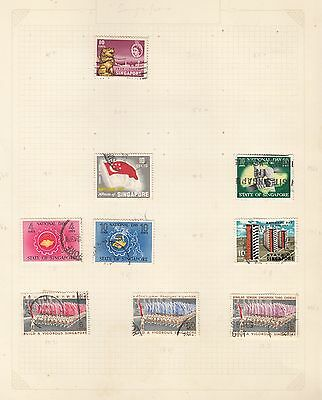 SINGAPORE on album page stamps removed for shipping (a)