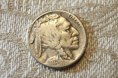 1929-S 5c Buffalo Nickel Old US 5 Cents Coin A45  VERY GOOD + 1/2 HORN