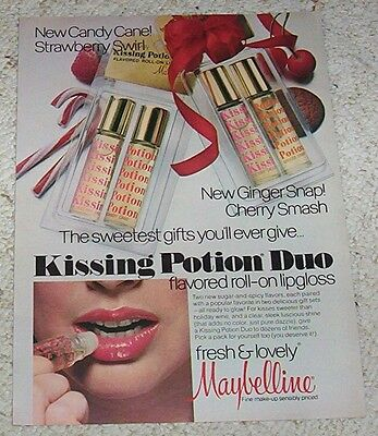 1977 print ad page -Maybelline Cosmetics Kissing Potion Duo Christmas vintage AD