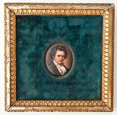 Antique 19th century porcelain hand painted miniature portrait gilt frame