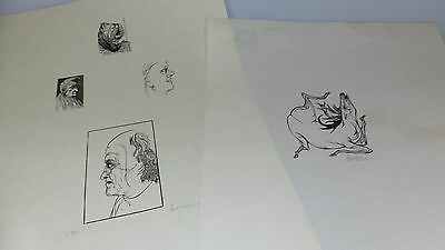 2pc SET SIGNED & NUMBERED BOYTON BLACK/WHITE FIGURAL ETCHINGS  - CHICAGO GALLERY