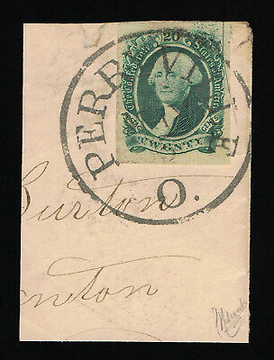 Genuine Confederate Csa Scott #13 Used Large Perryville Ohio May-5 Town Cancel