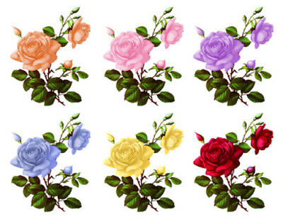 Vintage Image Shabby Colored Roses Large Decoupage Labels Waterslide Decal FL526