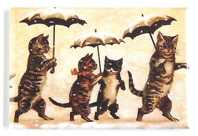 Cats & Kittens with Umbrellas FRIDGE MAGNET (2 x 3 inches) snow scene