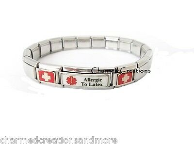 Allergic To Latex Superlink 9mm Italian Charm Medical Alert Id Starter Bracelet