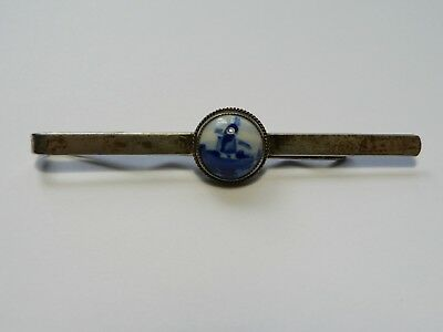 Vintage 835 Silver Dutch Delft blue white windmill design hair pin barrette
