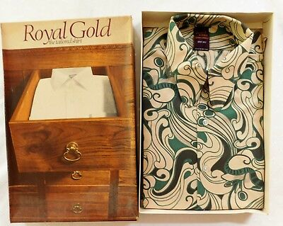 """Vintage green shirt UNUSED size 17"""" Royal Gold round collar tips 1960s 1970s"""