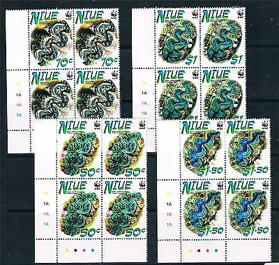 Niue 2002 Small Giant Clams PLATE BLKS 4 SG909/12 MNH